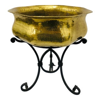 Vintage Italian Brass Cache Pot Planter on Iron Plant Stand - a Pair For Sale