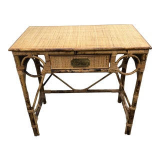 20th Century Hollywood Regency Bamboo and Rattan Writing Desk