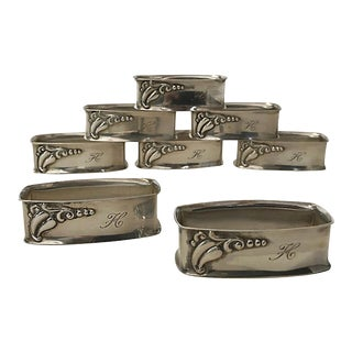 "Sterling Silver ""H"" Napkin Rings - Set of 8 For Sale"