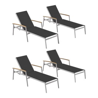 Outdoor Sling Chaise Lounge, Natural and Black (Set of 4) For Sale