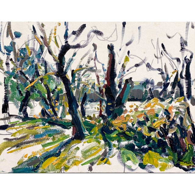 Canvas Abstract Expressionist James River Morning - Original Oil Painting by Rebecca Dvorak For Sale - Image 7 of 7