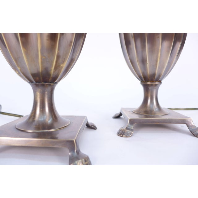 1960s Patinated Pineapple Fluted Brass Table Lamps For Sale - Image 5 of 9