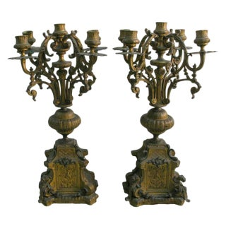 Patinated Bronze Candelabra - a Pair