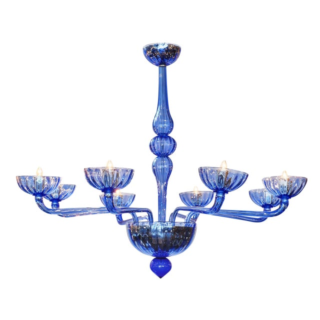 Blue Murano Glass Chandelier For Sale