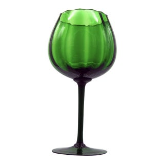 1970s Empoli Optic Emerald Long Stemmed Compote For Sale
