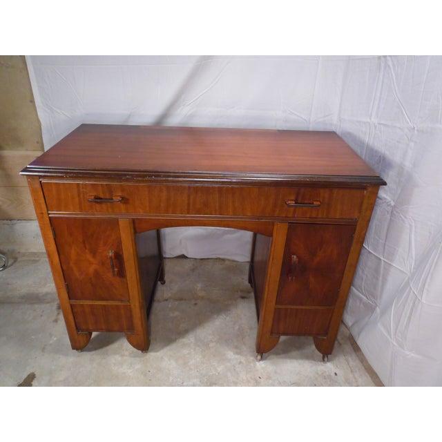 Antique Art Deco Walnut Office Desk Vanity 1930's For Sale In Providence - Image 6 of 13