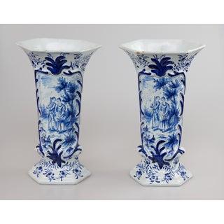 Antique Dutch Delft Vases With Figures - a Pair Preview