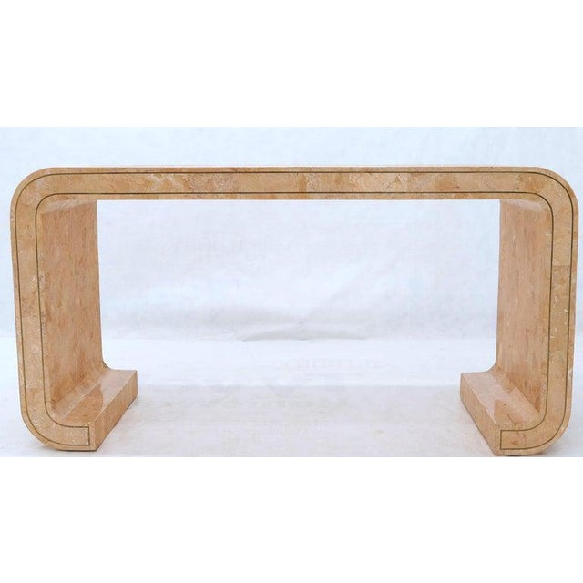 Tessellated Marble Stone Brass Inlay C Bracket Shape Console Sofa Table For Sale - Image 6 of 11