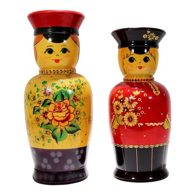 Vintage Russian Bottle Holding Soldier Dolls, Set of 2 For Sale