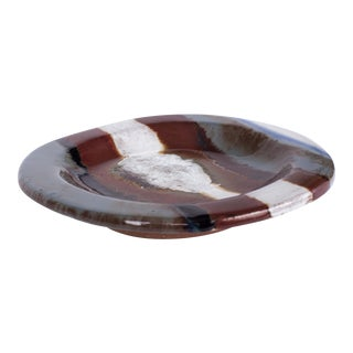 Black & Brown Crackle-Glaze Ceramic Dish by Jacques Pouchain