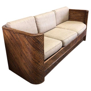 Mid-Century Italian Bamboo Sofa For Sale