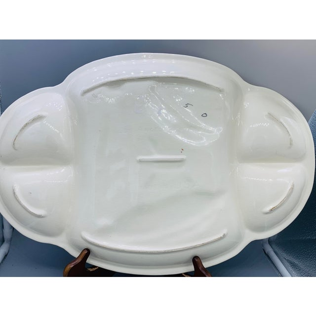 Los Angeles Potteries Bbq Grill Sectional Platter/ Vintage Hamburger and Hot Dog Serving Plate For Sale - Image 4 of 11