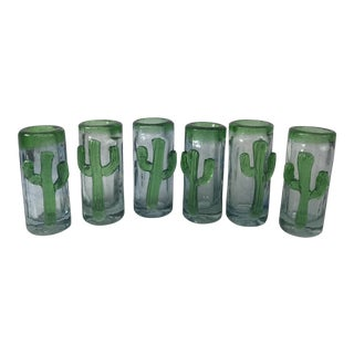 1970s Southwestern Cactus Handmade Shot Glasses - Set of 6 For Sale