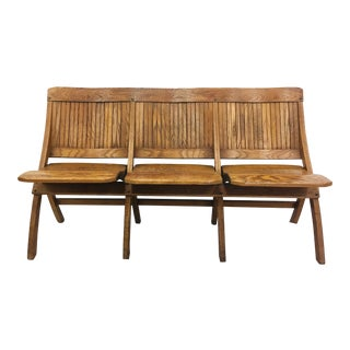 Antique Folding Wooden Slat Bench