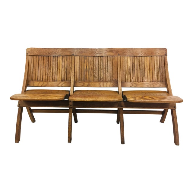 Antique Folding Wooden Slat Bench | Chairish