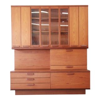 Danish Modern Teak Bar Cabinet Wall Unit For Sale