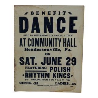 "1930s Vintage ""Polish Rhythm Kings"" Dance at Community Hall Sign For Sale"