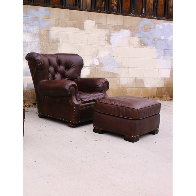 Restoration Hardware Churchill Chair & Ottoman - Image 2 of 9