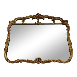 1900s Victorian Gold Floral Buffet Mantel Accent Wall Mirror For Sale