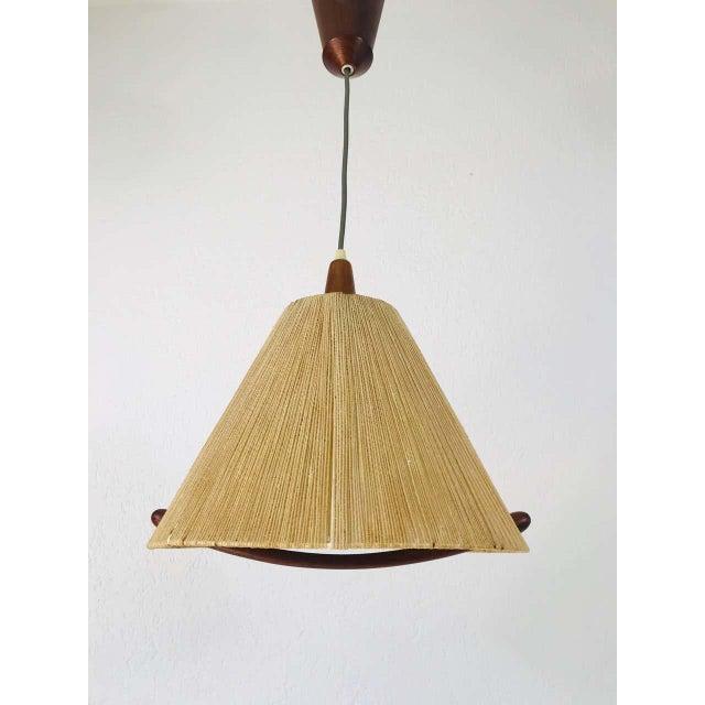 Wood Midcentury Teak and Rattan Hanging Lamp, circa 1970 For Sale - Image 7 of 12