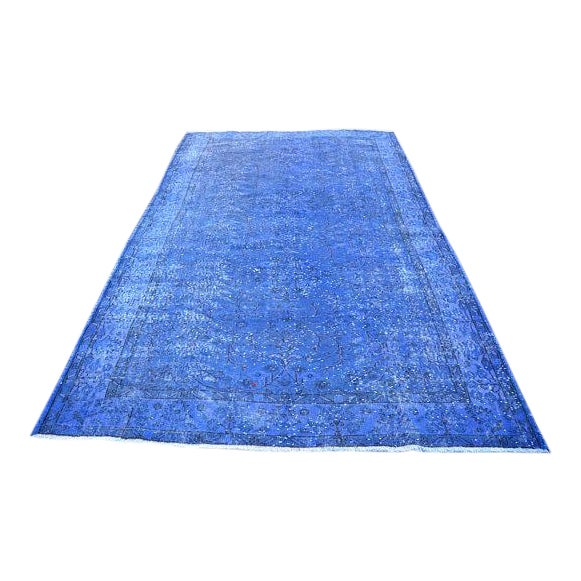 """Blue Overdyed Rug -- 5'10"""" x 9'4"""" For Sale"""