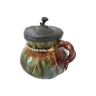 Antique Pewter Lid Majolica Syrup Jug Preview