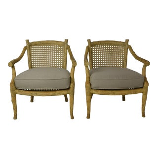Vintage Wood and Cane Michael Taylor Style Arm Chairs - a Pair For Sale