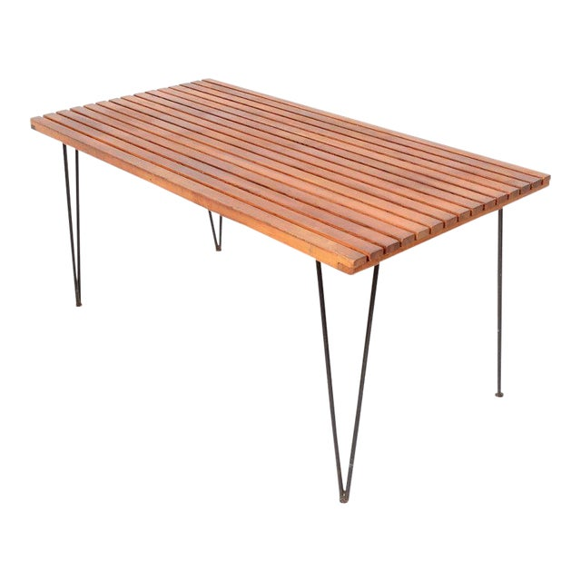 Sol Air Pipsan Saarinen Slatted Table on Hairpin Legs For Sale