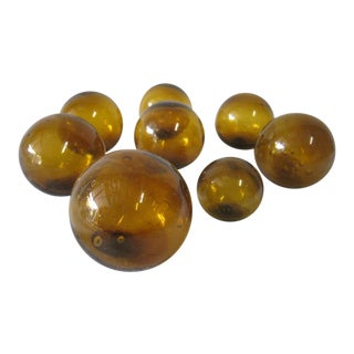 Miniature Glass Fishing Floats - Set of 8 For Sale