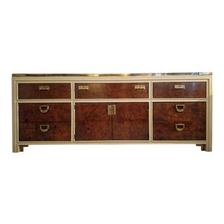 Vanleigh Furniture, 9 Drawer Burlwood Sideboard/ Dresser, Mid-Century For Sale