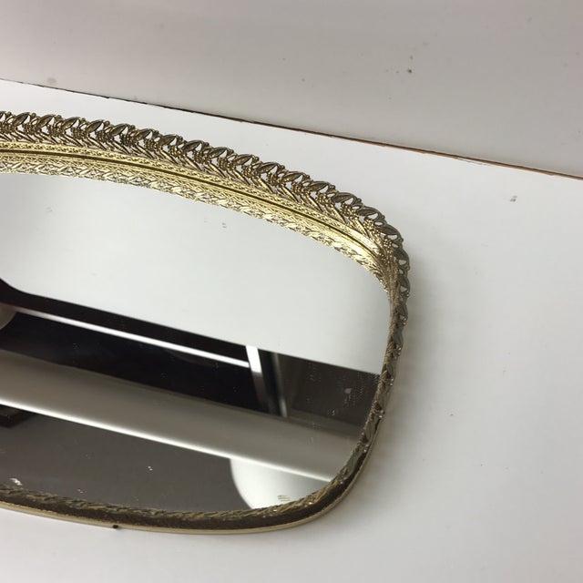 French Vintage French Filigree Medium Oval Vanity Tray With Mirror For Sale - Image 3 of 6