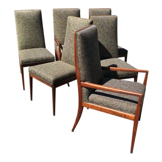 1950s Mid-Century Modern Walnut High Back Dining Chairs - Set of 6 For Sale