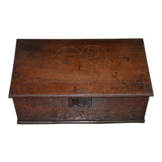 Rare 18th Century Hand Carved Walnut Bible Box C.1763 For Sale