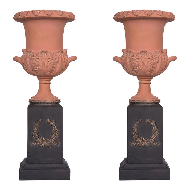 Pair of Neoclassical Terracotta Urns on Decorated Plinths - Image 1 of 6