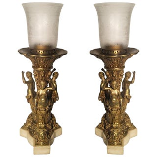 1890s Figural Gilt Bronze Lamps - a Pair For Sale
