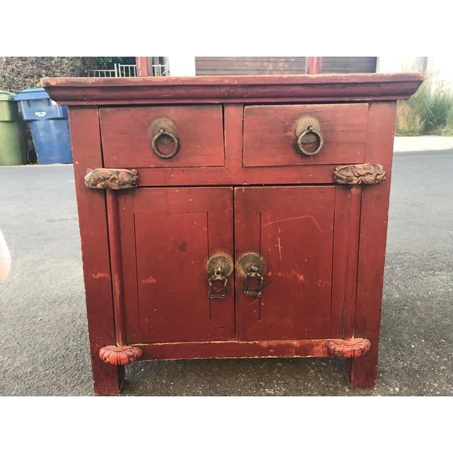 Asian Distressed Red Cabinet - Image 4 of 7