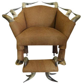 Late 19th C. Antique Horn and Suede Lounge Chair & Ottoman For Sale
