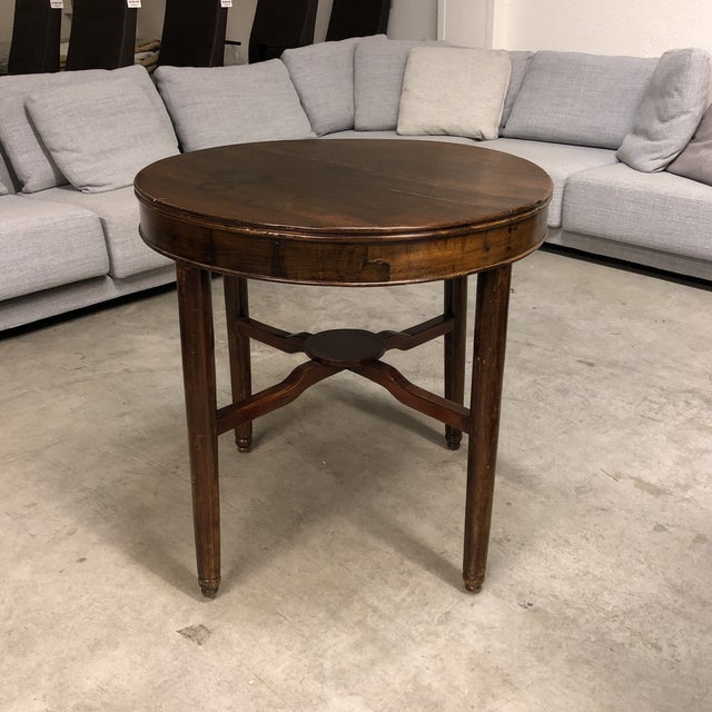 Antique Round Wood Occasional Table For Sale In San Francisco - Image 6 of 6