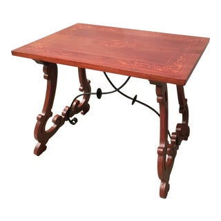 19th Century Baroque Spanish Side Table With Marquetry Top & Lyre Legs For Sale