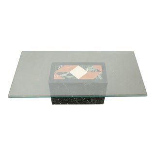 20th Century Modern Marble and Glass Coffee Table For Sale