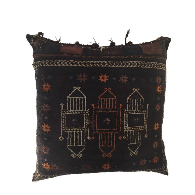 Handmade Antique Collectible Afghan Baluch Saddle Bag Tribal Large Floor Cushion For Sale - Image 13 of 13