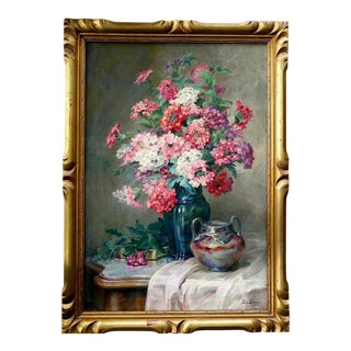 Late 19th Century Impressionist Flower Still Life Oil Painting - Leonie Louppe For Sale