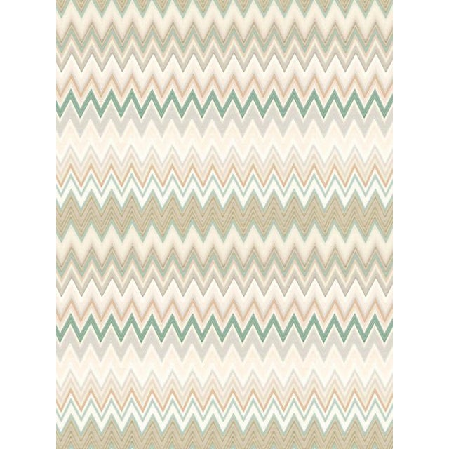 Contemporary Scalamandre Zig Zags, Teal Bisque Wallpaper For Sale - Image 3 of 3
