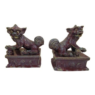 Glazed Ceramic Foo Dogs - a Pair