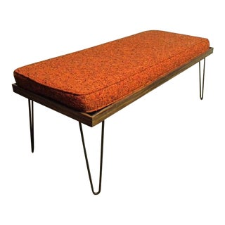 Vintage Mid Century Hair Pin Leg Upholstered Bench For Sale