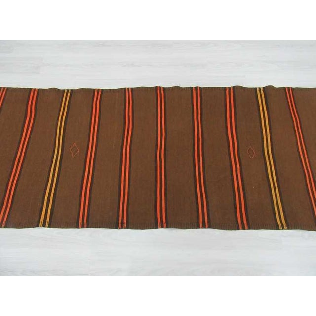Vintage Orange & Yellow Striped Kilim Runner Rug - 3′2″ × 9′2″ For Sale - Image 4 of 6