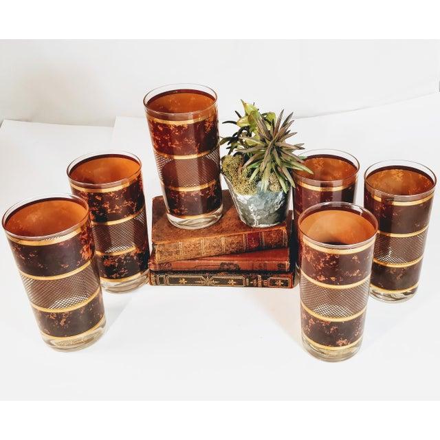 Georges Briard Vintage Georges Briard Tortoiseshell Lattice Design Highball Glasses - Set of 6 For Sale - Image 4 of 8
