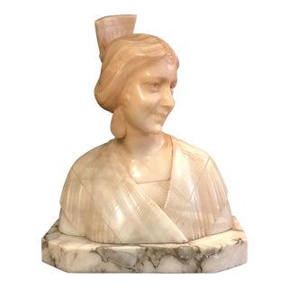 Antique Art Nouveau Italian Alabaster Bust of a Woman For Sale