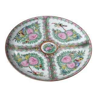 Vintage Japanese Porcelain Ware Famille Rose Decorative Plate For Sale