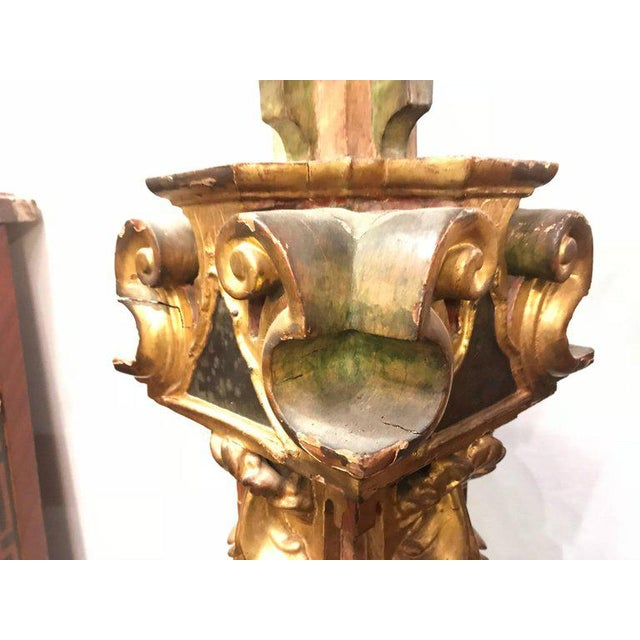 A Continental Italian Gilt Distressed Continental Pedestal For Sale - Image 5 of 11